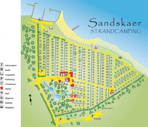 Pladsplan for Sandskaer Strandcamping